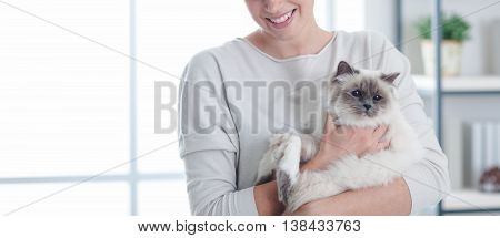 Happy Woman With Her Pet