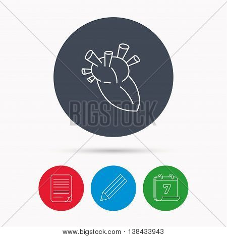 Heart icon. Human organ sign. Surgical transplantation symbol. Calendar, pencil or edit and document file signs. Vector