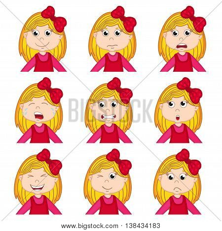 girl faces showing different emotions - vector illustration, eps