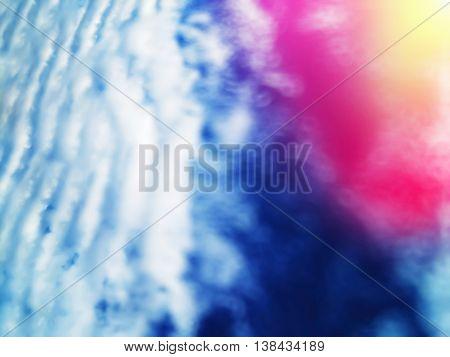 Horizontal dramatic atmospheric front with light leak bokeh background