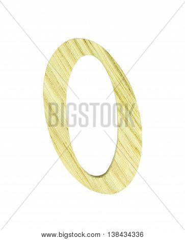 Single wooden 0 numeric on white background isolated clipping path