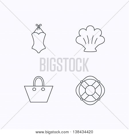Ladies handbag, shell and swimsuit icons. Lifebuoy linear sign. Flat linear icons on white background. Vector