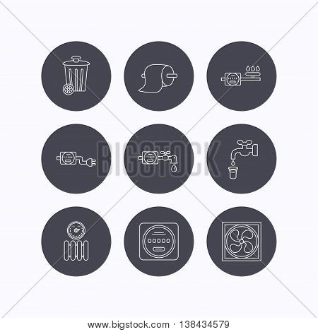Ventilation, radiator and water counter icons. Toiler paper, gas and electricity counters linear signs. Trash icon. Flat icons in circle buttons on white background. Vector