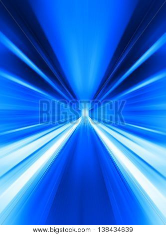 Blue Abstract Teleport Tunnel Motion Blur Background