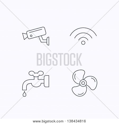 Wifi, video camera and ventilation icons. Water supply linear sign. Flat linear icons on white background. Vector