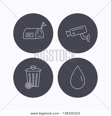 Mailbox, video monitoring and water drop icons. Trash bin linear sign. Flat icons in circle buttons on white background. Vector
