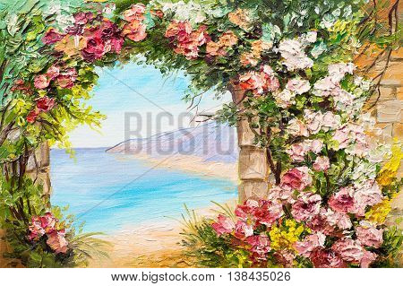 Oil painting landscape - arch near the sea flowers