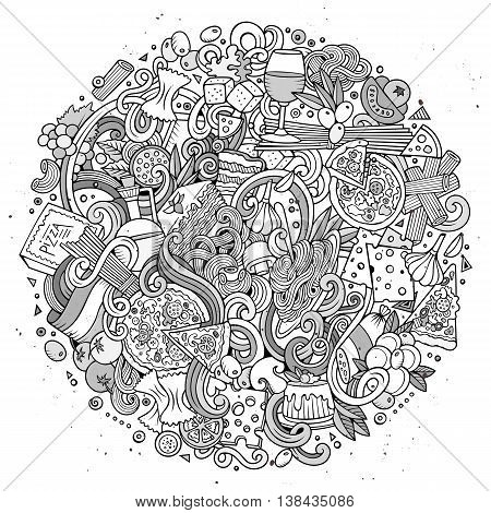 Cartoon cute doodles hand drawn italian food illustration. Line art detailed, with lots of objects background. Funny vector round artwork. Sketchy with Italy cuisine theme items.