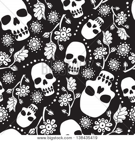 Black and white seamless pattern with flowers and skulls. Black background. Stock vector illustration.