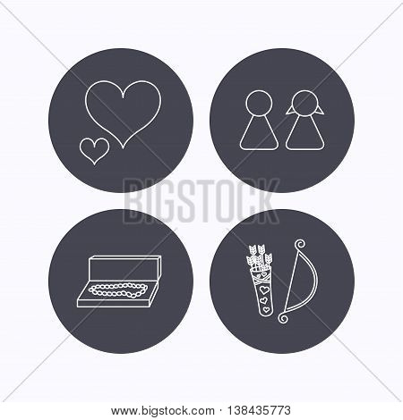 Love heart, jewelry and couple icons. Valentine amour arrows linear signs. Flat icons in circle buttons on white background. Vector