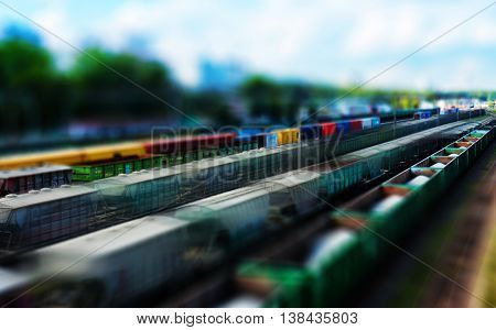 Horizontal toy train vivid perspective motion abstraction
