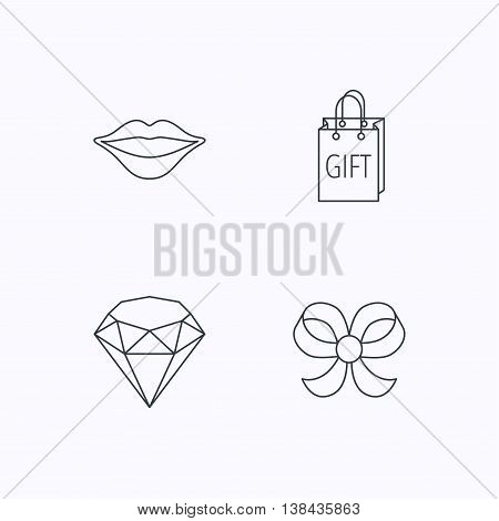 Lips kiss, brilliant and gift icons. Bow-knot linear sign. Flat linear icons on white background. Vector