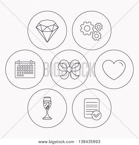 Love heart, brilliant and engagement ring icons. Bow-knot linear sign. Check file, calendar and cogwheel icons. Vector