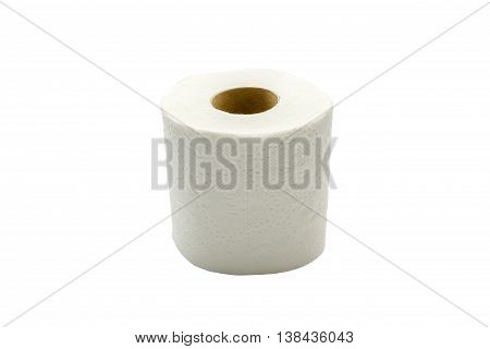 Toilet paper roll isolated on white background