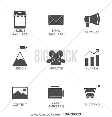 Business marketing icons. Affiliate and promotion marketing