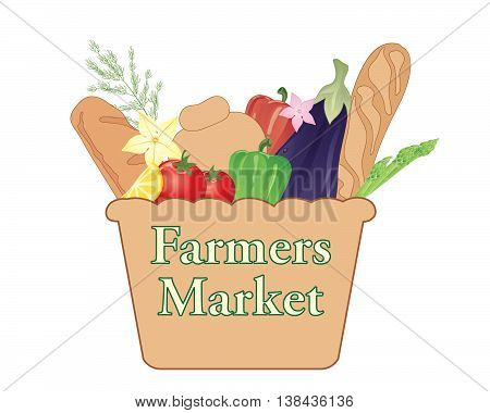 an illustration of a farmers market sign with basket full of organic produce on a white background