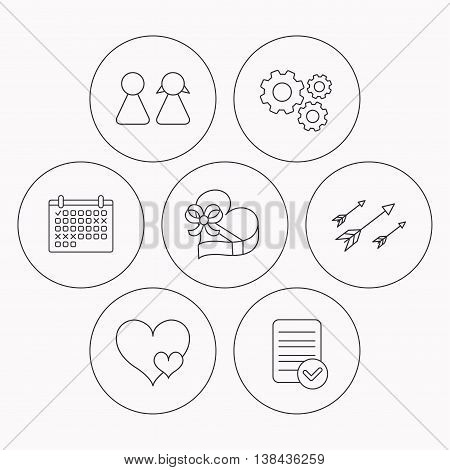 Love heart, gift box and couple icons. Arrows linear sign. Check file, calendar and cogwheel icons. Vector