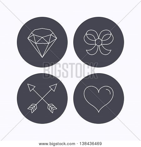 Love heart, brilliant and bow-knot icons. Arrows linear signs. Flat icons in circle buttons on white background. Vector