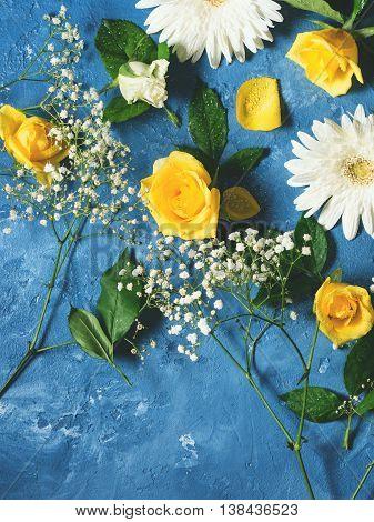 Floral Background On Blue