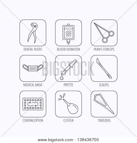 Medical mask, blood and dental pliers icons. Contraception, scalpel and clyster linear signs. Tweezers, pipette and forceps flat line icons. Flat linear icons in squares on white background. Vector