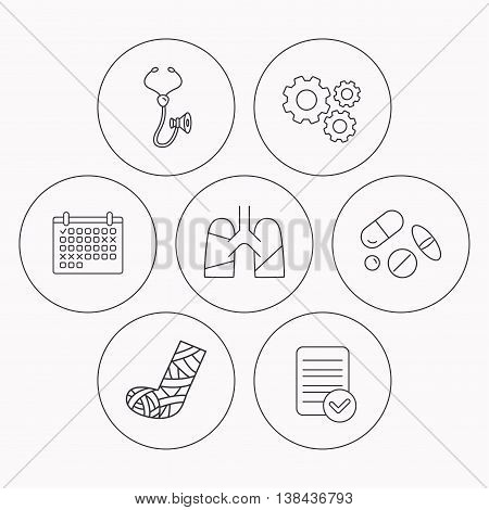 Broken foot, lungs and medical pills icons. Stethoscope linear sign. Check file, calendar and cogwheel icons. Vector