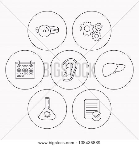 Lab bulb, medical mirror and liver organ icons. Ear linear sign. Check file, calendar and cogwheel icons. Vector