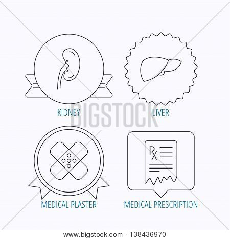 Liver, medical plaster and prescription icons. Kidney linear sign. Award medal, star label and speech bubble designs. Vector