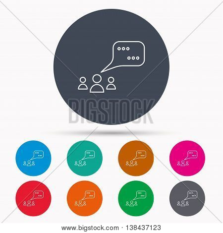 Meeting icon. Chat speech bubbles sign. Speak balloon symbol. Icons in colour circle buttons. Vector
