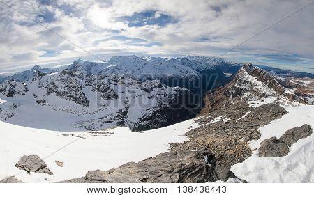 Holiday in Switzerland, foggy view of winter in Mount Titlis Switzerland