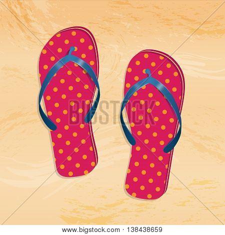 illustration of vector flip flops on the beach