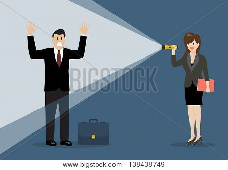 Business woman holding flashlight glow to businessman. vector illustration