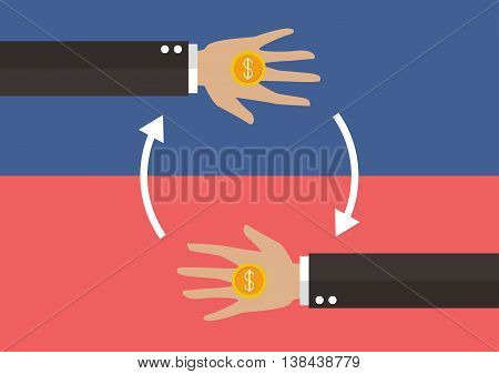 Transferring Money and payment. Business concept vector illustration