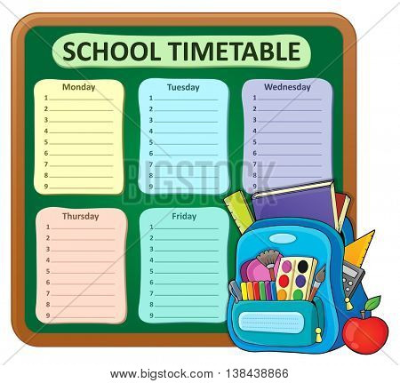 Weekly school timetable composition 5 - eps10 vector illustration.