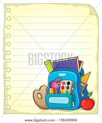 Notebook page with schoolbag 1 - eps10 vector illustration.