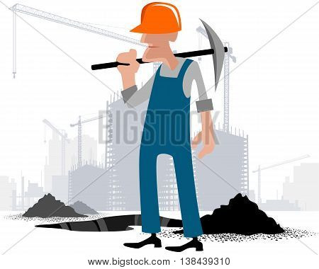 Vector illustration image of a digger with a pick