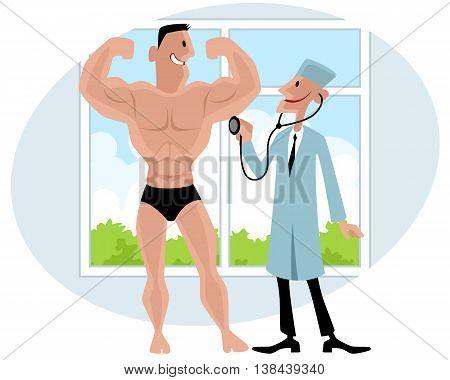 Vector illustration of a doctor examines bodybuilder