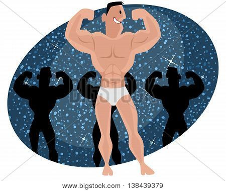 Vector illustration of a bodybuilder at competition