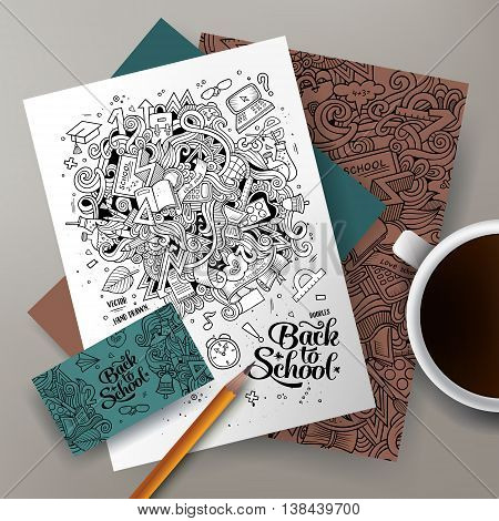 Cartoon cute line art vector hand drawn doodles Back to school corporate identity set. Templates design of business card, flyers, posters, papers on the table.