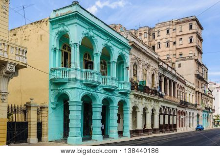 HAVANA, CUBA - MARCH 17, 2016: Colorful old building in Paseo de Marti in Havana the capital of Cuba