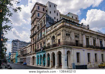 HAVANA, CUBA - MARCH 17, 2016: Old houses in Havana the capital of Cuba