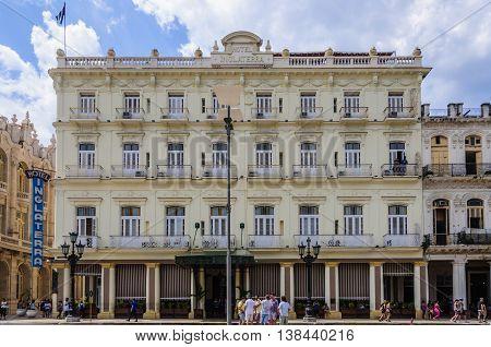 HAVANA, CUBA - MARCH 17, 2016: The historical Hotel Inglaterra near Central Park in Havana the capital of Cuba