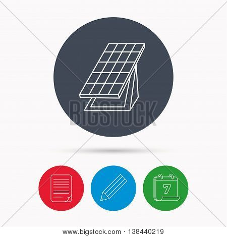 Solar collector icon. Sunlight energy generation sign. Innovation battery power symbol. Calendar, pencil or edit and document file signs. Vector