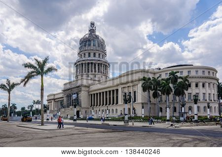 HAVANA, CUBA - MARCH 17, 2016: Works in the Capitolio building in Havana the capital of Cuba
