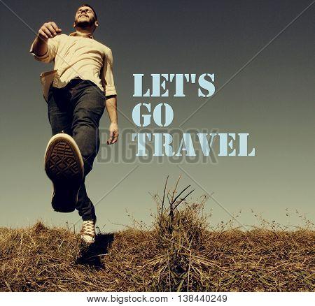 Let's go travel text - retro style, motivational concept