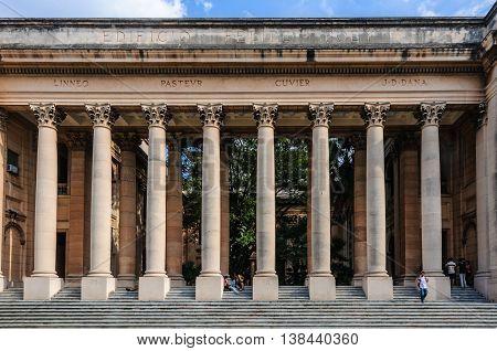 HAVANA, CUBA - MARCH 17, 2016: Columns of the classicist style university in Havana the capital of Cuba