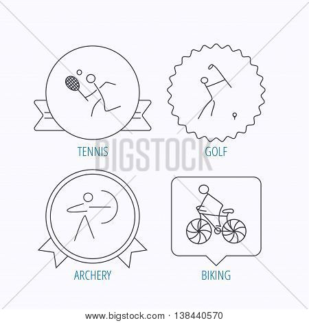 Biking, tennis and golf icons. Archery linear sign. Award medal, star label and speech bubble designs. Vector