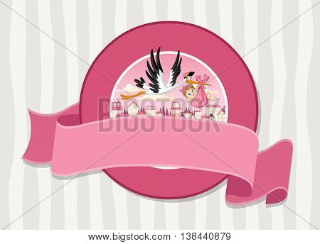 Vector banners and labels backgrounds with cartoon stork delivering a newborn baby girl. Design text ribbons.