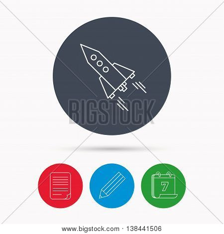 Startup business icon. Rocket sign. Spaceship shuttle symbol. Calendar, pencil or edit and document file signs. Vector