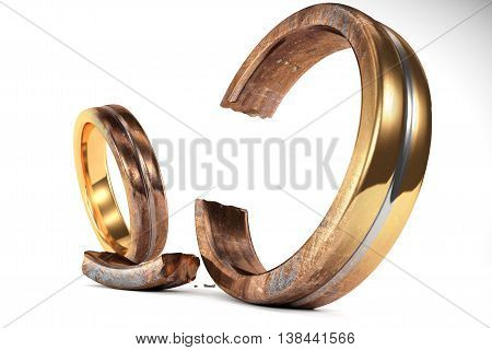 Rusty Wedding Rings Symbolizing The Divorce Between Two People