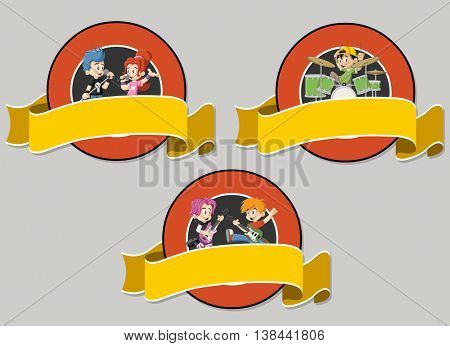Vector banners and labels backgrounds with cartoon children playing on a rock'n'roll band. Design text ribbons.